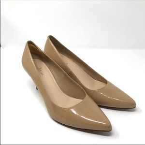Cole Haan Juliana tan patent leather pointy toe